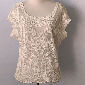 paper + tee Lace & Mesh OverLay Blouse